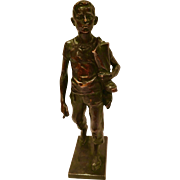 Antique Austrian Bronze Sculpture Marked A. Pohl Of A Boy Carrying Footwear
