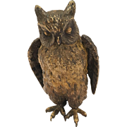 Very Dense Antique Cold Painted Vienna Bronze Owl