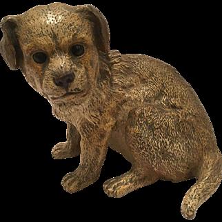 Antique Vienna Bronze Cold Painted Dog Inkwell Marked Geschutzt