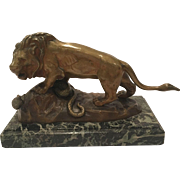 Signed Antique French Bronze Sculpture Signed CH Aubert Of A Lion And A Snake