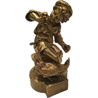"""""""Allouard"""" Signed French Bronze Of A Boy With A Rooster And A Dragonfly"""