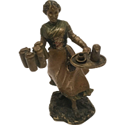 Antique Cold Painted Vienna Bronze Of A Woman Serving Drinks