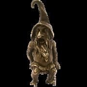 Unique Antique Bronze Gnome Sitting On A Silver Chair