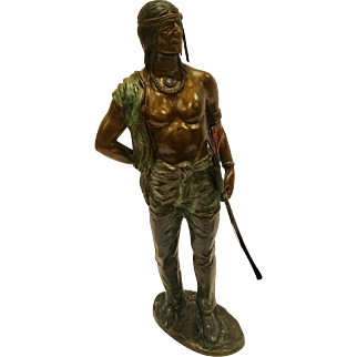 "Great Cold Painted Signed ""Kauba"" Vienna Bronze Of An Indian"