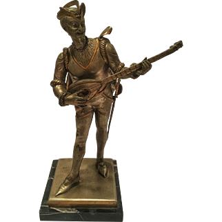 Antique French Bronze Painted Sculpture Minstrel by Guillot