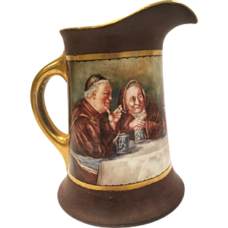 Antique Limoges Tankard Feauturing Monks