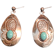 """On sale for $45 from $110 Vintage Sleeping Beauty turquoise and marked """"sterling"""" silver, pierced post earrings by Jane Yikaazba Popvitch, Navajo,"""