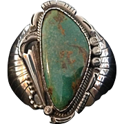 Vintage Native American Sterling Silver and Manassas Turquoise Cuff Bracelet by Jerome Begay