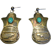 """Vintage Sleeping Beauty turquoise and marked """"sterling"""" silver pierced earrings by Navajo Jane Yikaazba Popovitch, larger"""