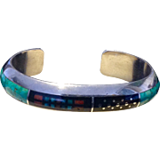 Jim Harrison, Navajo, Sterling Silver and mosaic inlay with precious stones bracelet