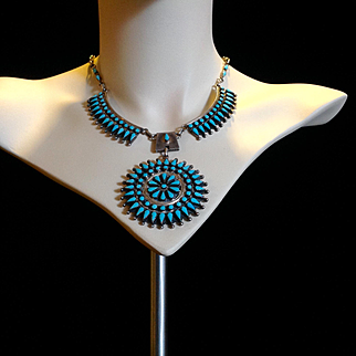 Navajo large cluster necklace by Benson Charlie Yazzie, beautiful turquoise snake eyes