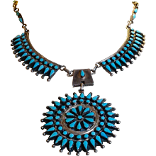 Sale today $895 large cluster necklace by Navajo silversmith Benson Charlie Yazzie (1947 - 2001), beautiful turquoise snake eyes