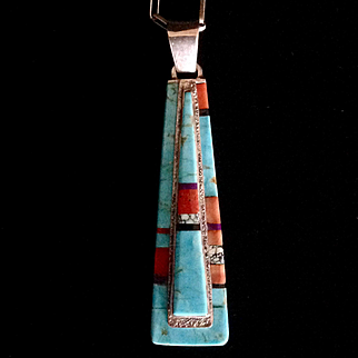 Old Native American Contemporary mosaic turquoise inlay pendant and hand made chain