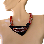 Ruth Slomin made carnelian and twisted sterling silver pieces bead necklace, all hand made, 17""