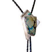 On sale, $75, originally $125, Artist Ruth Slomin bolo tie, Sterling Silver one-of-a-kind, made for private use turquoise and mystery hand cut stone.