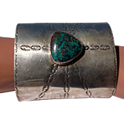 Vintage large Sterling Silver stamped and turquoise stone Native American cuff