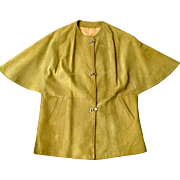 Vintage early 1960's chartreuse suede poncho jacket, closures from Western Germany