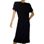100% Orlon Acrylic Fiber late 1940's black pull over sweater knit dress by Kimberly WPL6690