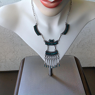 Vintage old Native American petti point necklace