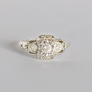 Art Deco fabulous 60 point diamond and platinum ring