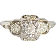 Art Deco fabulous 60 point diamond and platinum ring