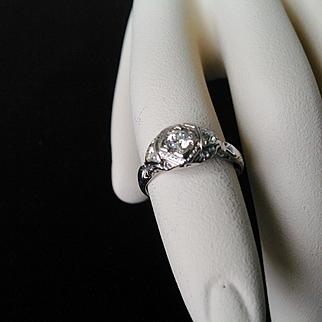 18K Art Nouveau 3 diamonds filigree cap ring, center stone is larger, all clean diamonds