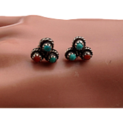 "Vintage 3/8"" turquoise and coral old Sterling silver stud earrings"
