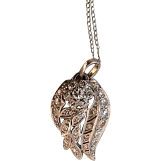 """On sale today $725 Art Deco Platinum Pendant made from a Deco watchband.  This is a one-of-a-kind necklace with a 16"""" 14 Karat gold chain and weighs 3.7 grams."""