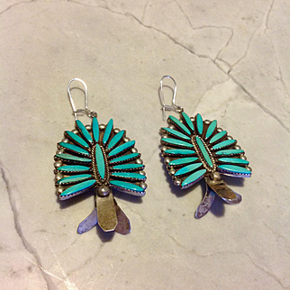 Turquoise Squash blossom earrings made from a 1950's squash blossom necklace from a famous artisan, P. Peynetsa