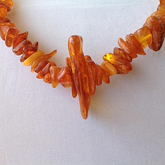 RAW Baltic amber, appears to be honey or Cognac color necklace or stand, vintage