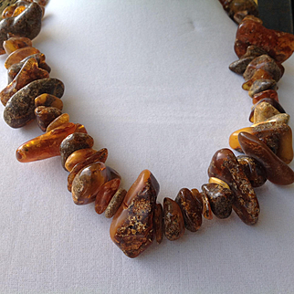 RAW Baltic amber, unprocessed, untreated amber that come directly from the Baltic Sea, necklace or strand, vintage