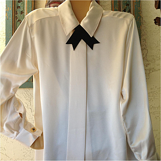 On sale $45 Vtg. St John silk blouse with removable black velvet tie, it has shoulder pads at one time indicated by some old Velcro