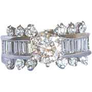 Vintage diamond ring, 1.05 carat in the center VS1 TBD color with diamonds and another .75 points in diamonds and baguettes