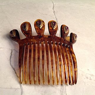 Old hair comb, glass amethyst inset in brass stones, beautiful condition