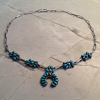 """Vintage Small Native American Sterling Silver & Turquoise Squash Blossom necklace 18"""" handmade paper clip style chain, Naja is 1"""""""