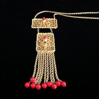 On Sale for $35, LES BERNARD INC goldtone tassel necklace