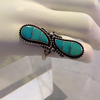 Old Zuni turquoise ring, circa 1960, tested to be sterling silver (925)
