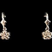 Dangle lever back Flower earrings, 14 Karat white gold