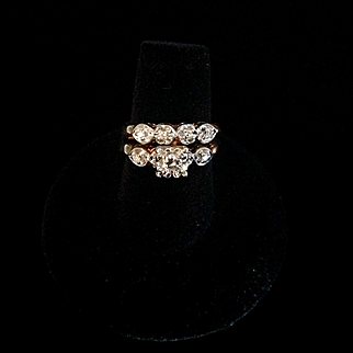 Yellow gold with white gold heads, 1940's wedding and engagement ring set