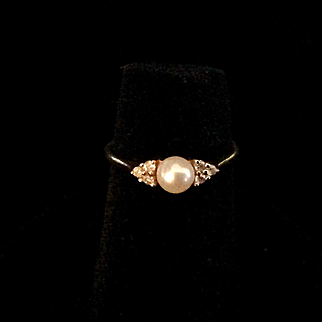 1950's Cultered Pearl and diamond girl's ring, 14K