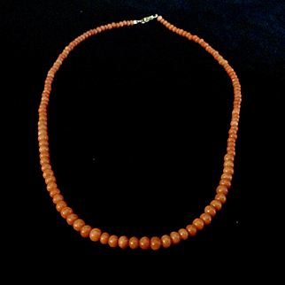 "Victorian Salmon colored Coral bead necklace, 17 1/2"", 14K clasp"