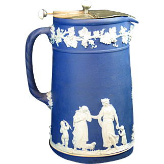 Old Wedgwood Jasperware Pitcher with Lid