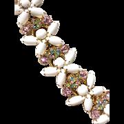 Juliana Pastel Rhinestone Milk Glass 5-Link Bracelet