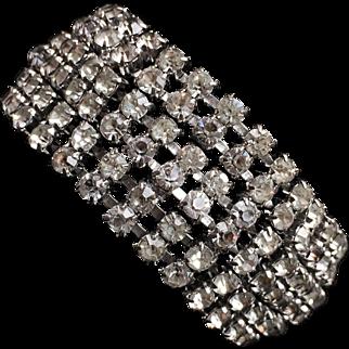 Wide 6-Row Clear Rhinestone Bracelet