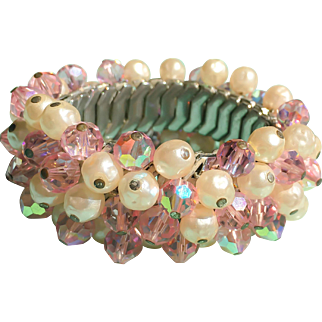 Vintage Pearls & Pink Crystals Expansion Cha Cha Bracelet