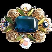 Juliana Sapphire Blue & Olivine Green Rhinestone Filigree Balls Statement Brooch
