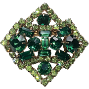 Emerald Green & Peridot Rhinestone Abstract Brooch