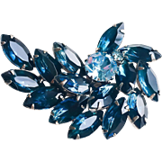 Sapphire & Ice Blue Rhinestone Abstract Brooch