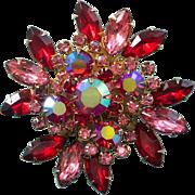 Vintage Red & Pink Aurora Borealis Rhinestone Cluster Statement Brooch