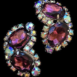 Purple Aurora Borealis Rhinestone Earrings